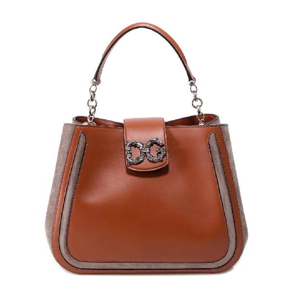 Dolce & Gabbana Monogram Plaque Shoulder Bag In Brown