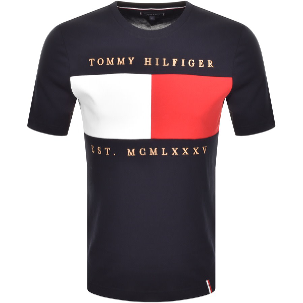 Tommy Hilfiger Embroidered Flag Logo T Shirt Navy