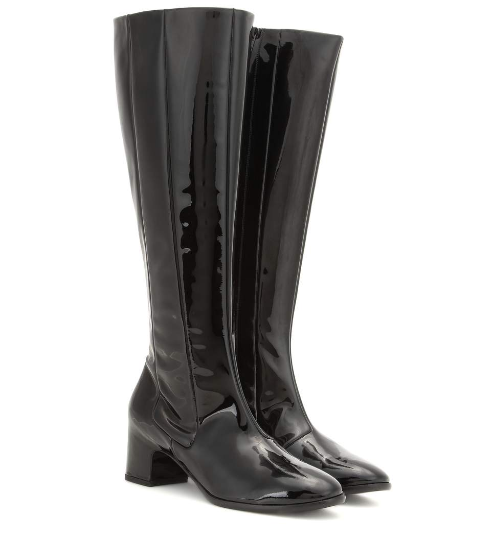 Balenciaga Patent Leather Knee-High Boots In Black