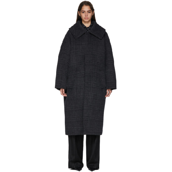 Balenciaga Incognito Prince Of Wales Checked Wool-blend Coat In 1140 Anthra