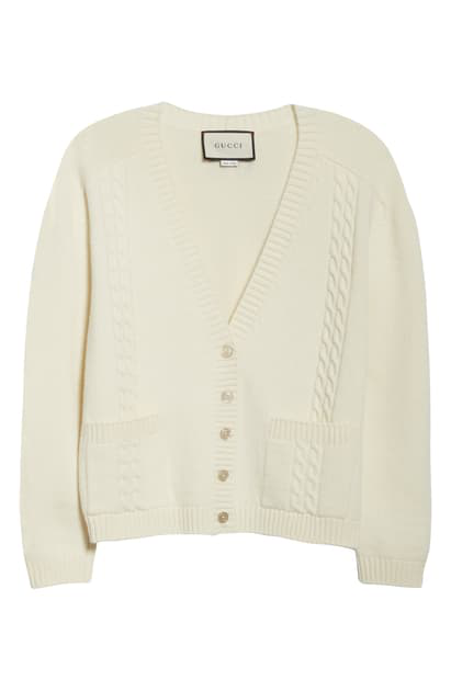 Gucci Logo Patch Cable Wool Cardigan In Ivory