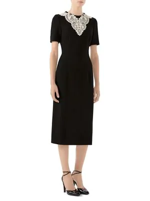 Gucci Wool Sable Lace Midi Dress In Black
