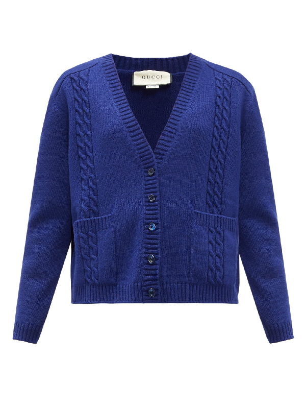 Gucci Gg-logo Cable-knit Wool Cardigan In Blue