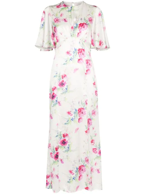 Les Rêveries Floral-print Silk Midi Dress In White