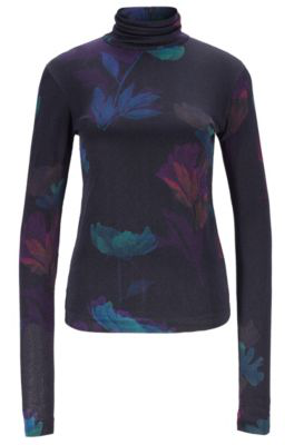 Boss Slim-Fit Top In Floral Pattern With Back Zipper In Patterned