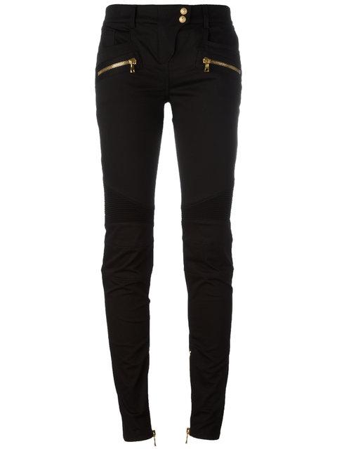 Balmain Skinny Biker Trousers In Black