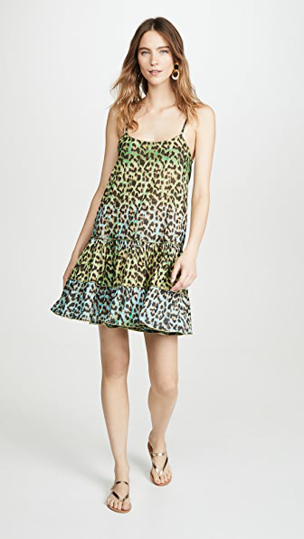 Juliet Dunn Leopard-print Ruffled-hem Cotton Dress In Green Print