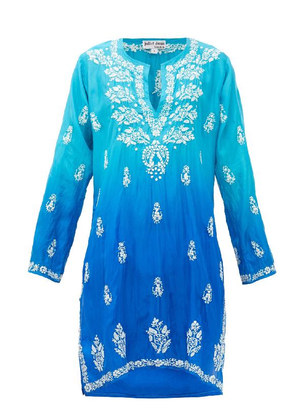 Juliet Dunn Embroidered Silk Kaftan In Blue Multi