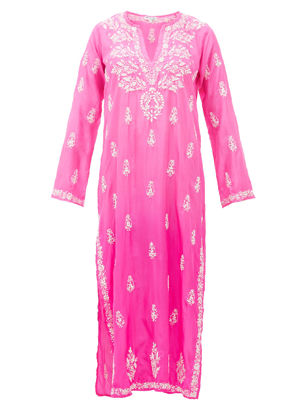 Juliet Dunn Sequin-embroidered Silk Kaftan In Pink