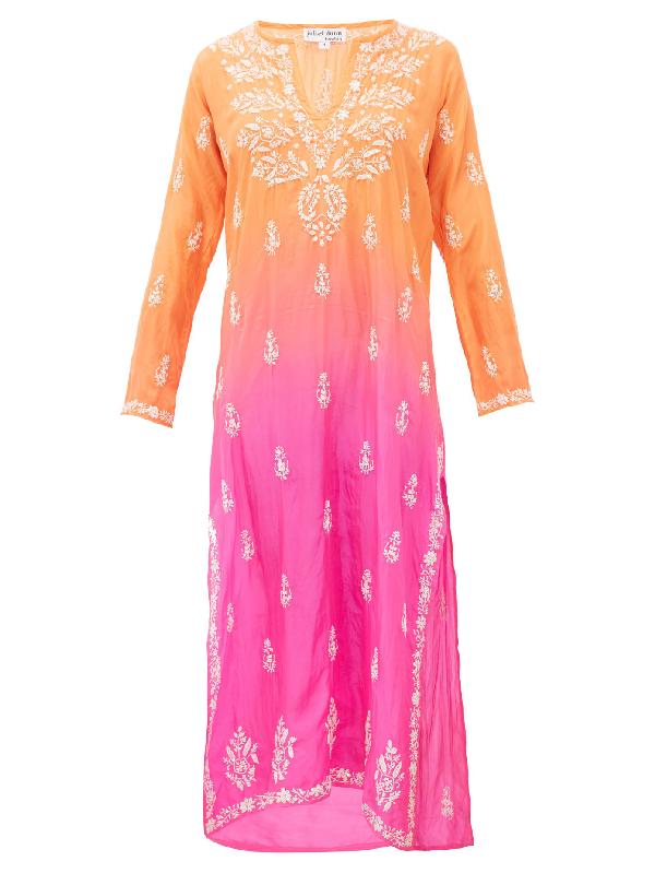 Juliet Dunn Ombré Sequin-embroidered Silk Kaftan In Orange Multi