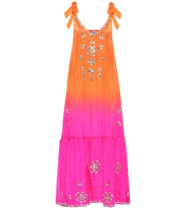Juliet Dunn Ombré Mirror-embroidered Silk Maxi Dress In Multicoloured