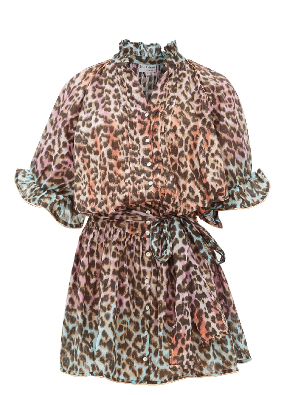 Juliet Dunn Leopard-print Ruffled Cotton Dress In Pink Print