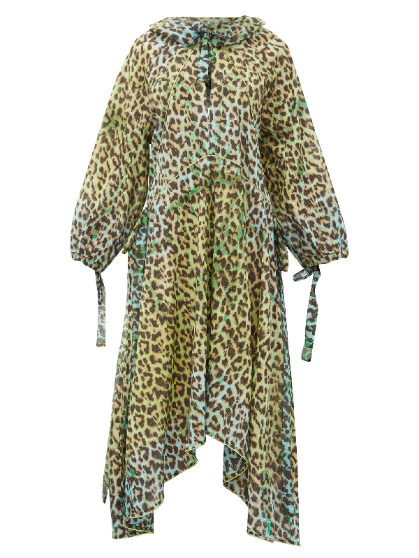 Juliet Dunn Neck-tie Leopard-print Cotton Dress In Green Print