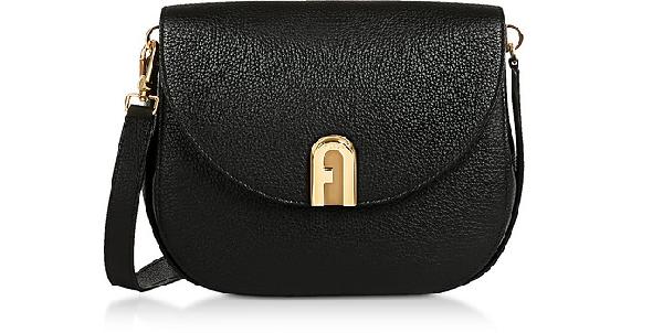 Furla Genuine Leather Sleek Mini Crossbody Bag In Black