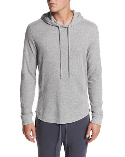 Vince Double-Knit Cotton Hoodie In Gray