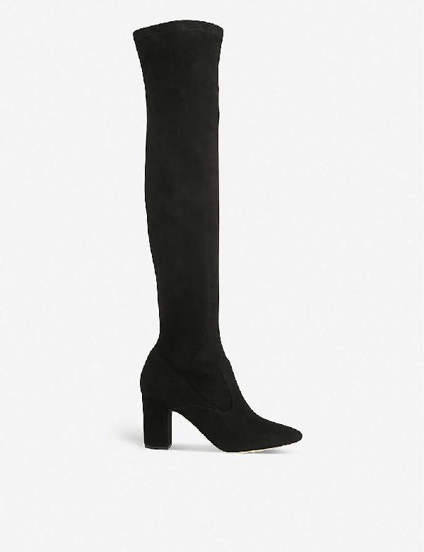 Lk Bennett Zira Over-the-knee Stretch-suede Boots In Bla-black