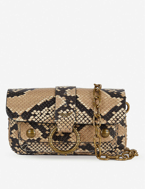 Zadig & Voltaire Kate Wild Wallet Snakeskin-print Cross-body Bag In Beige