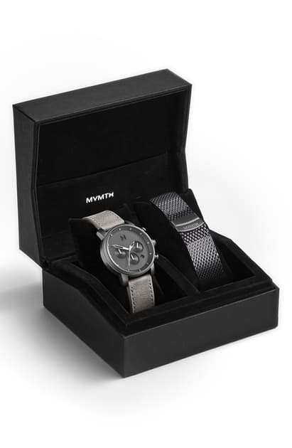 Mvmt The Chrono Chronograph Leather Strap Watch & Mesh Strap Set, 40mm In Silver/ Grey/ Silver
