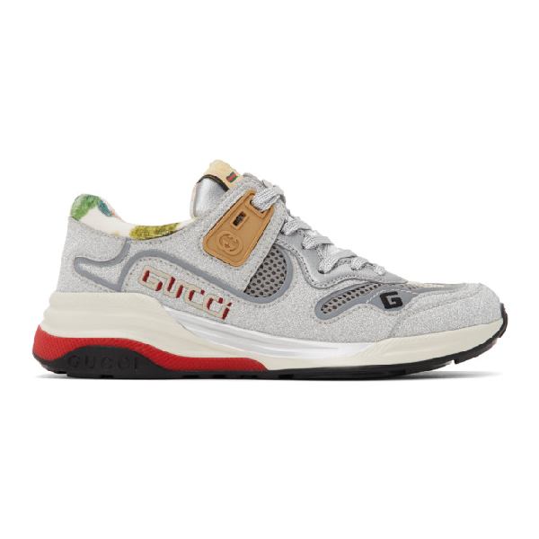Gucci Silver Sparkling Ultrapace Sneakers In Metallic