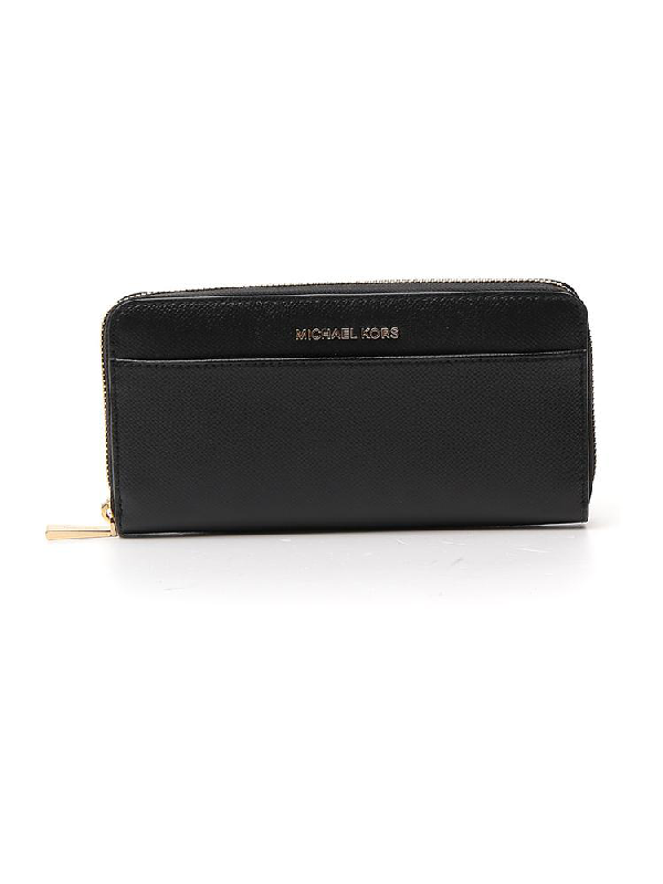Michael Michael Kors Zipped Logo Continental Wallet In Black