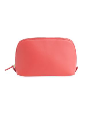 Royce New York Women's Leather Cosmetic Bag In Red