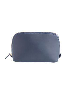 Royce New York Women's Leather Cosmetic Bag In Navy Blue
