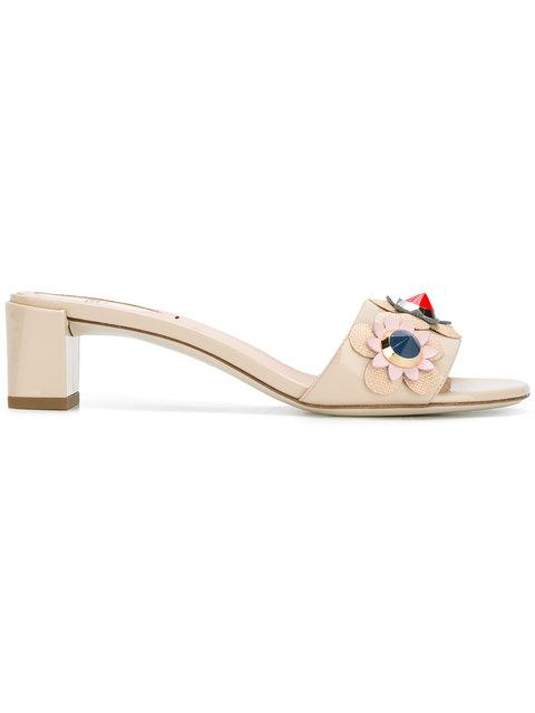114452a20832 Fendi Flowerland Studded Patent Leather Block Heel Slides In Cappuccino