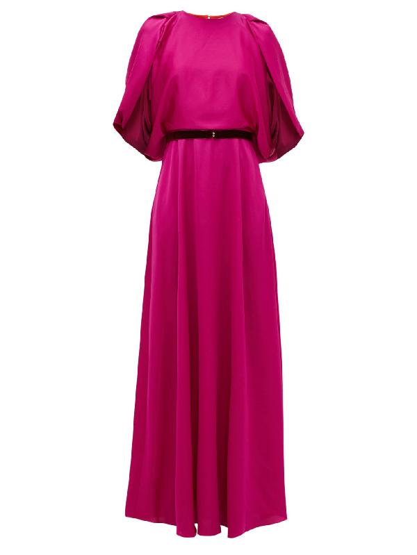 Roksanda Milena Cape-sleeve Satin Maxi Dress In Pink