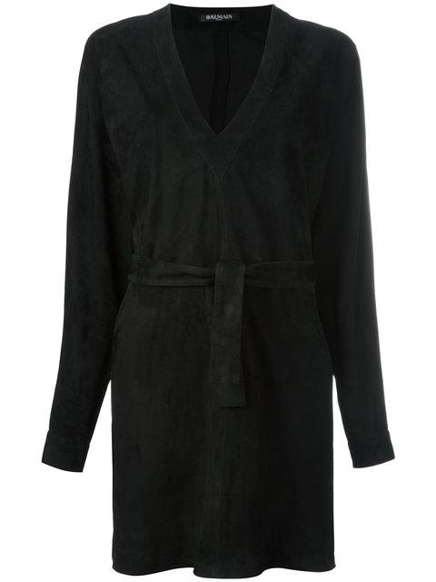 Balmain V-Neck Mini Dress - Black