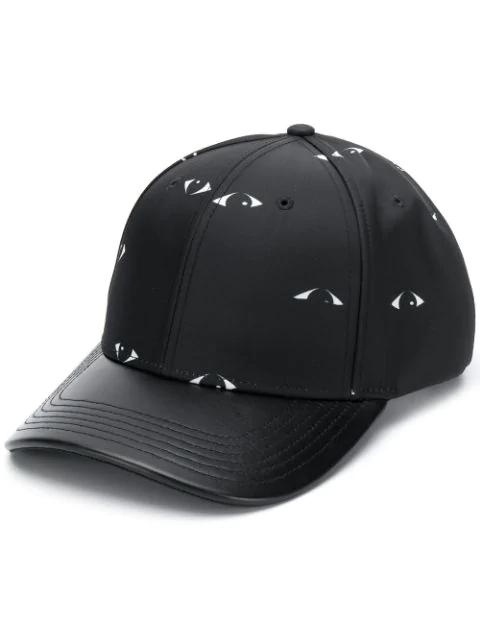 Kenzo Black Nylon & Leather Eyes Print Baseball Cap