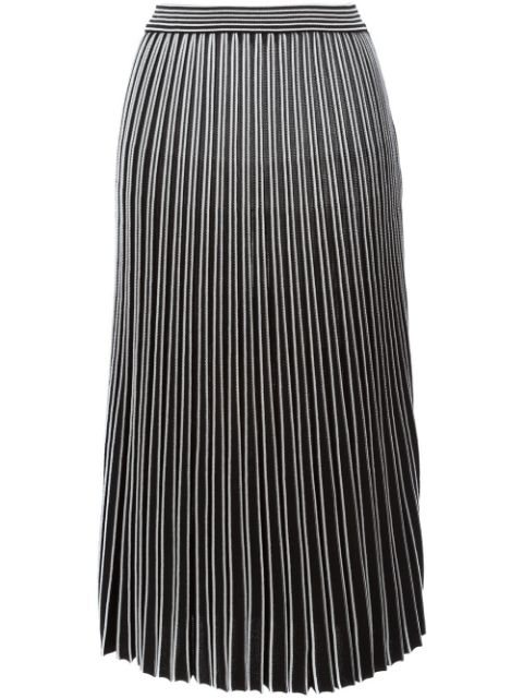 Proenza Schouler Two-tone Ribbed Lurex Midi Skirt In Black