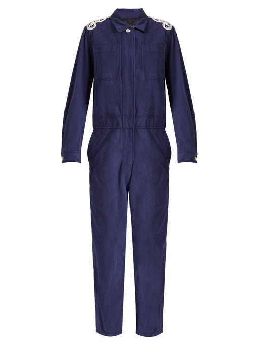Burberry Lace-AppliquÉ Brushed-Twill Jumpsuit In Blue