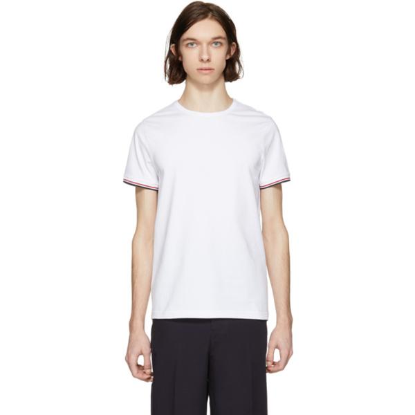 Moncler Striped Trim V-neck T-shirt In 001 White