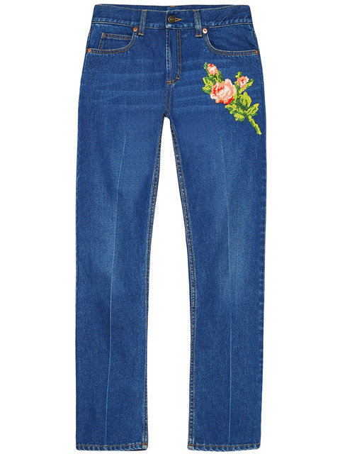 Gucci Embroidered Denim Pant In 4205