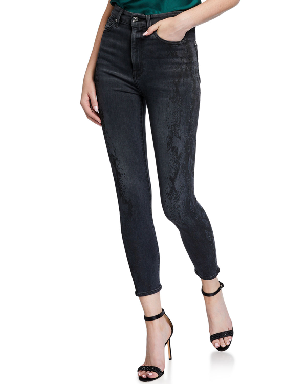 7 For All Mankind Aubrey High-Waist Ankle Skinny Jeans In Luxe Vintage Coal Snake