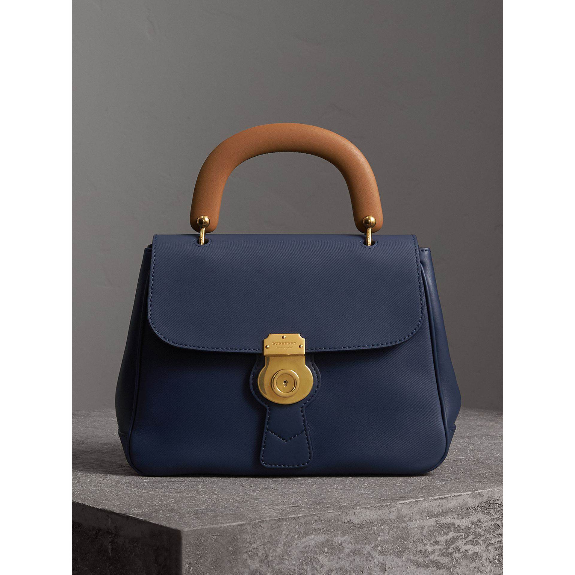 15f6cf9ecd8 Burberry Trench Large Saffiano Top Handle Bag, Blue In Ink Blue ...