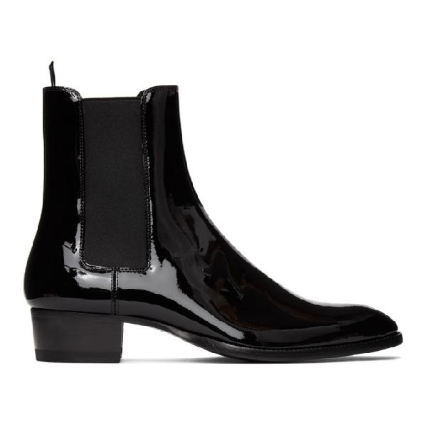 Saint Laurent Vernice Glove Patent-leather Chelsea Boots In Black