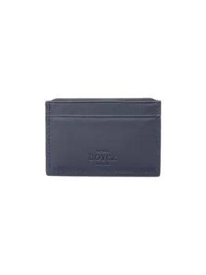 Royce New York Men's Rfid-blocking Leather Card Case In Navy Blue