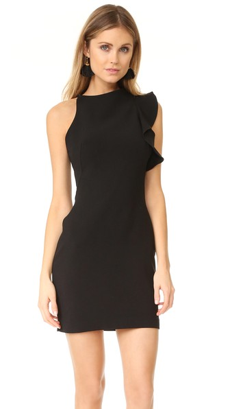 Black Halo Pabla Ruffled Mini Dress In Black