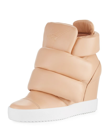 Giuseppe Zanotti Padded Grip-Strap High-Top Wedge Sneakers In Nude