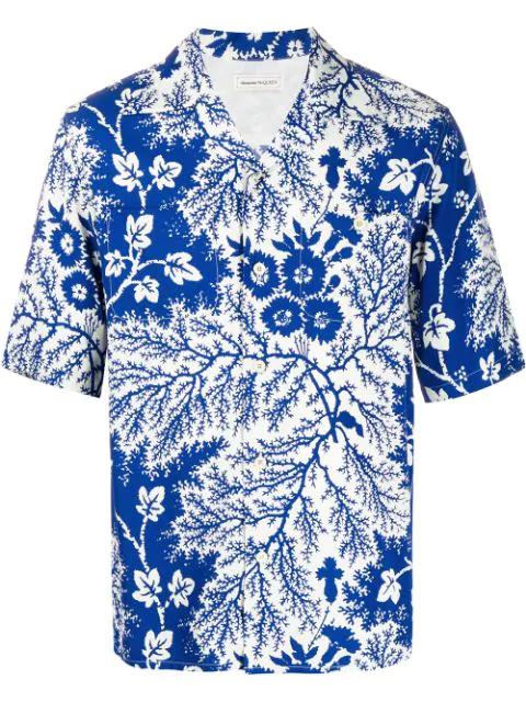 Alexander Mcqueen Camp-collar Printed Cotton-poplin Shirt In Blue