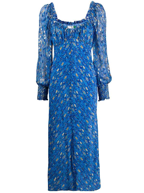 Rixo London Miriam Printed Silk-blend Chiffon Midi Dress In Blue