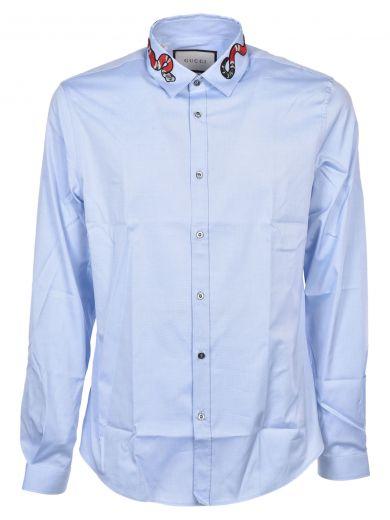 c28f2d148 Gucci Oxford Duke Kingsnake Dress Shirt In Azzurro   ModeSens