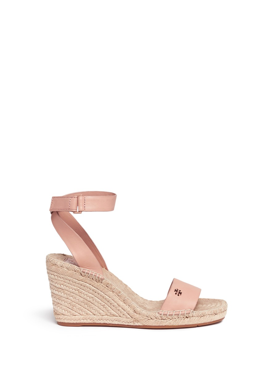 fe7bab650 Tory Burch  Bima  Leather Espadrille Wedge Sandals In Light Makeup ...