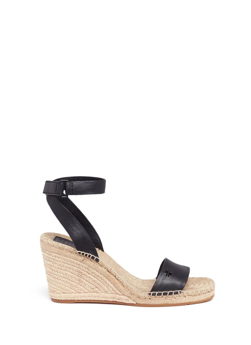 8573c243f3d Tory Burch  Bima  Leather Espadrille Wedge Sandals In Black