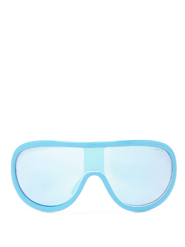 Moncler Flat-top Mirrored-lens Ski Sunglasses In Blue