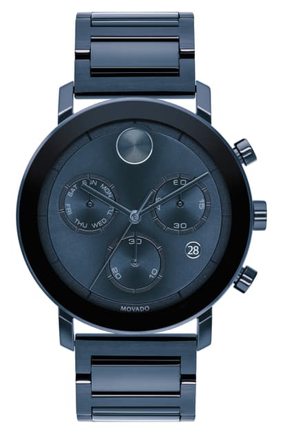 Movado Bold Evolution Chronograph Bracelet Watch, 42mm In Blue