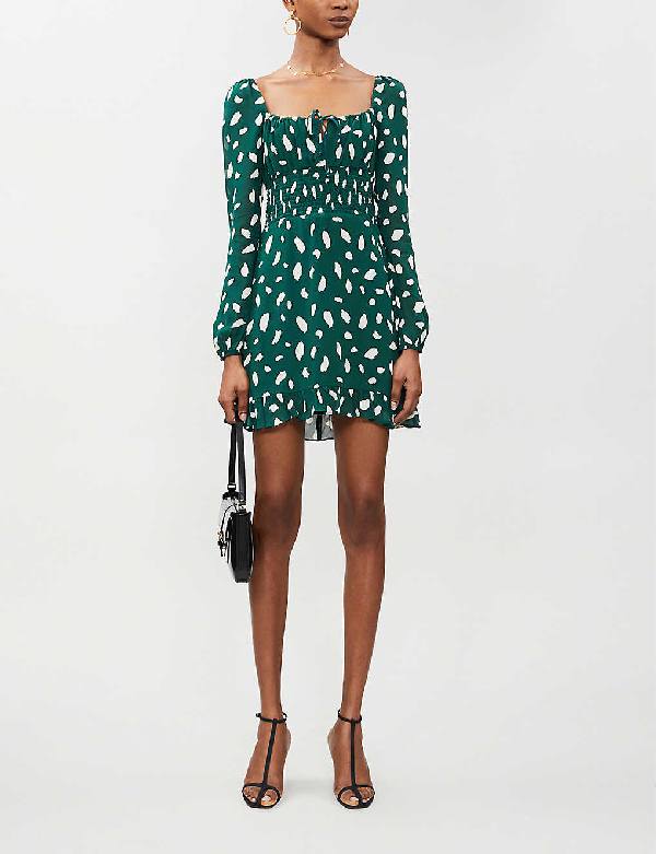 Reformation Rue Abstract Dot-print Crepe Mini Dress In Fen