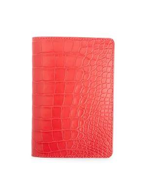 Royce New York Women's Croc-embossed Leather Passport Case In Red