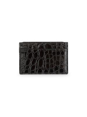 Royce New York Women's Croc-embossed Leather Card Case In Black